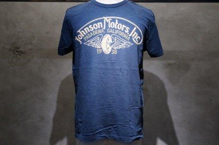 """ジョンソンモータース  """"ロゴTシャツ WINGED WHEEL""""  【デッドネイビー】"""