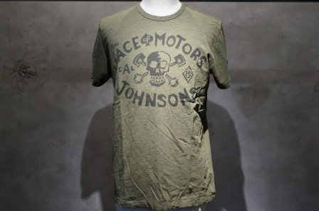 """ジョンソンモータース  """"ロゴTシャツ ACE OF MOTORS""""  【オリーブドラブ】"""