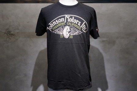 """ジョンソンモータース  """"ロゴTシャツ WINGED WHEEL""""  【ジェットブラック】"""