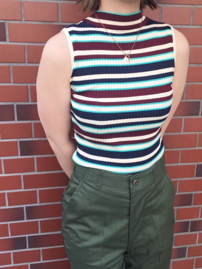 【NEW】N/S MOCK NECK RIB STRIPE TOP