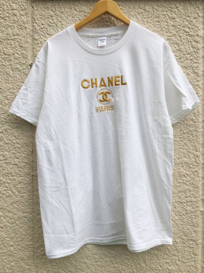 【USED】BOOTLEG CHANEL T-SHIRT WHITE/GOLD (XL)