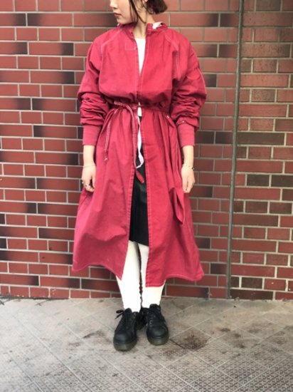 【DEAD STOCK】80's VINTAGE 2Way DOCTOR SMOCK DRESS Rose Red
