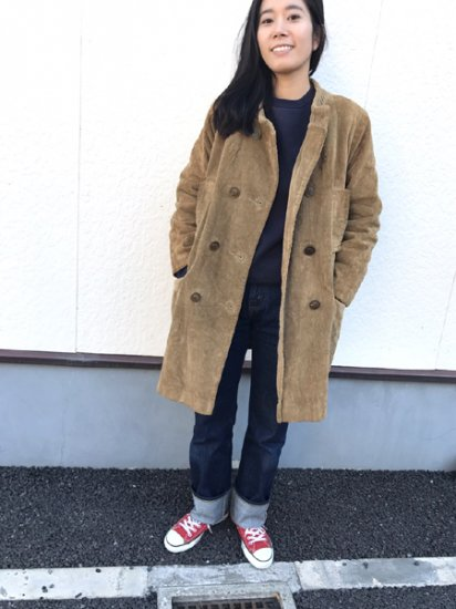 【USED】 60's〜70's VINTAGE MODERN SUBURBAN Corduroy Coat Camel Brown M
