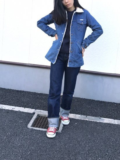 【USED】80's VINTAGE Wrangler Denim Boa Half Coat Jacket Blue M Made in U.S.A