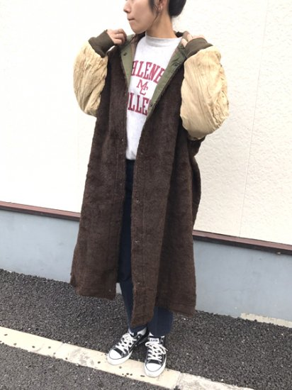 【USED】 40's VINTAGE U.S. Army VINTAGE M-47 Military Boa Liner Coat Brown L