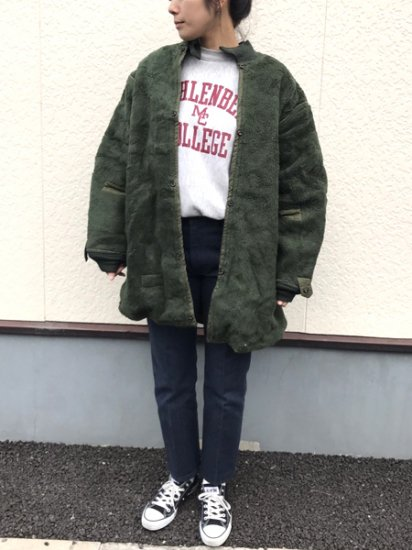 【USED】 54's VINTAGE Military Boa Liner Coat Reversible Olive Green XL