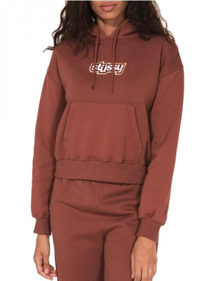 【NEW】STUSSY Civil Cropped Hoodie Brown 218041