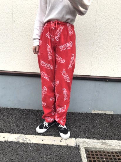 【USED】Coca-Cola PAJAMA PANTS Red W26 L31