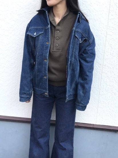 【USED】DIESEL Denim Fleece Half Coat Jacket Blue XL
