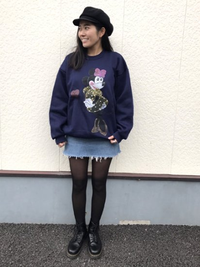 【USED】 Hill Minnie Sweat Shirt Navy XL Made in U.S.A