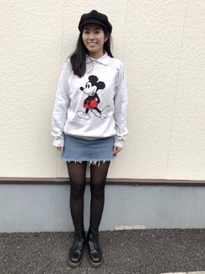 【USED】 action Mickey Sweat Shirt Gray XL Made in U.S.A