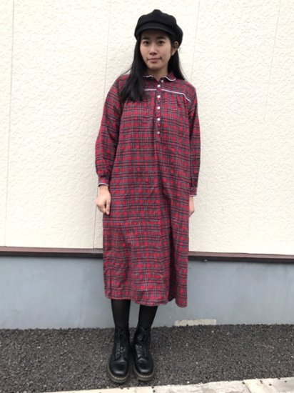 【USED】 L.L.Bean Check Pajama Shirt Dress Red XS