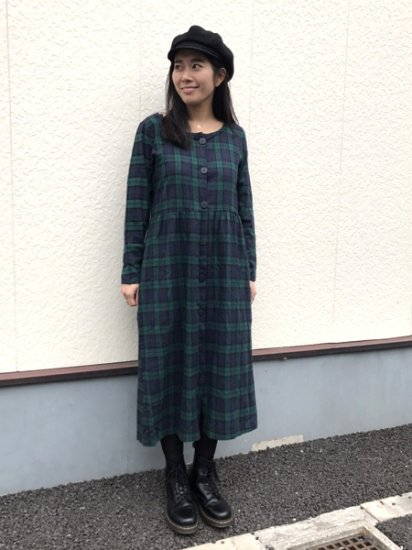 【USED】 The Yermont Country Store Check Dress Dark Green S Made in U.S.A