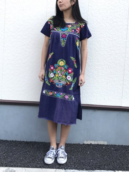 【USED】Ethnic Embroidery DRESS Navy