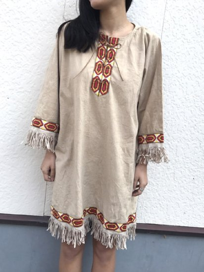 【USED】Ethnic Embroidery DRESS Beige