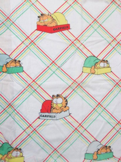 【USED】 VINTAGE Garfield Bed Cover Sheet 185cm×93cm×18cm