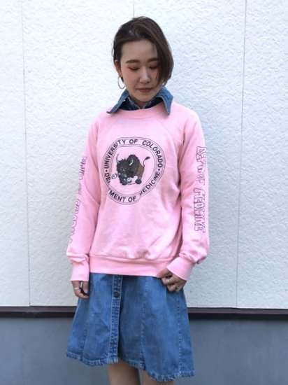 【USED】 jean top Sweat Shirt Pink L Made in U.S.A