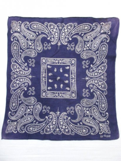 【USED】60's Vintage FAST COLOR Bandana Navy