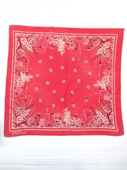 【USED】50's〜60's Vintage FAST COLOR Bandana Red