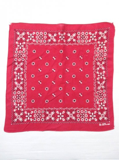 【USED】60's Vintage FAST COLOR Bandana Red