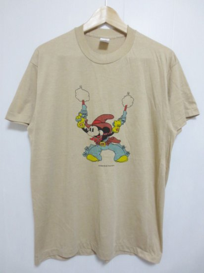 【USED】 BOOTLEG Mickey Mous T-SHIRT Brown×Blue (M)