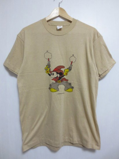 【USED】 BOOTLEG Mickey Mous T-SHIRT Brown×Gray (M)