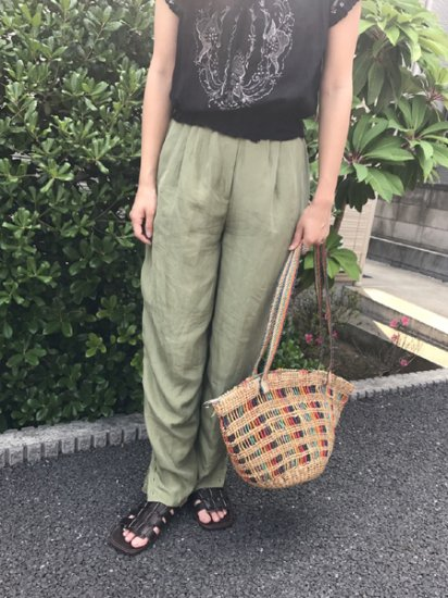 【USED】Silk Easy Pants Olive Green W23〜W28 L30.5