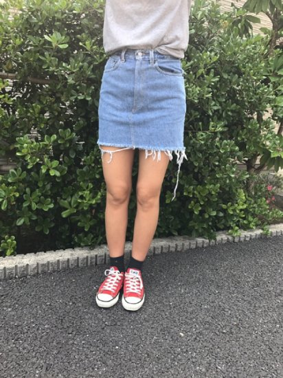 【USED】 Original Remake Levi's Denim Skirt Blue W26