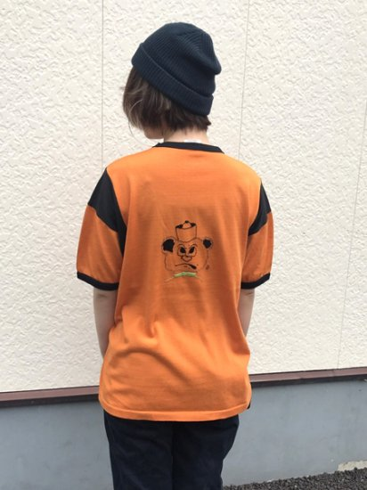 【USED】60's〜70's VINTAGE Rawlings Bear Embroidery Ringer Tee T-SHIRT Orange L Made in U.S.A