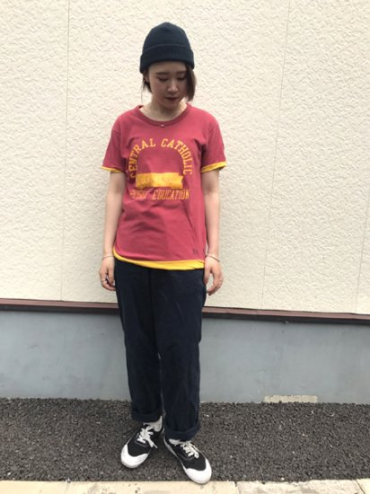 【USED】 80's VINTAGE Champion Reversible T-SHIRT Red×Yellow M Made in U.S.A