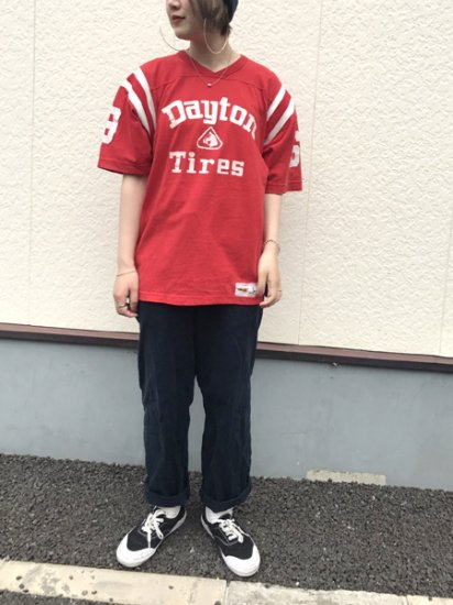 【USED】80's VINTAGE RUSSELL Football T-SHIRT Red L Made in U.S.A