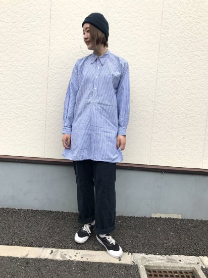 【USED】 EURO Work Stripe Long Shirt White×Blue