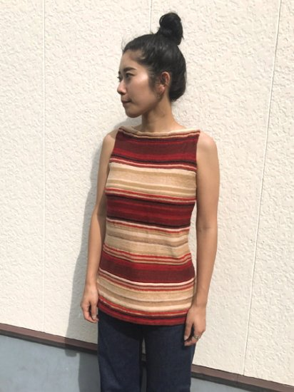 【USED】LAUREN RALPH LAUREN Border Summer Knit Tank top Beige×Red PM