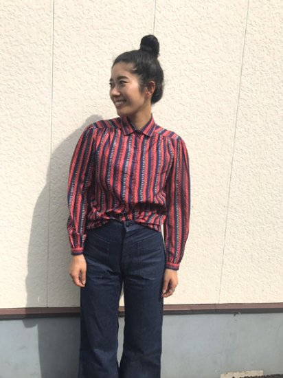【USED】 Stripe Shirt Red×Navy