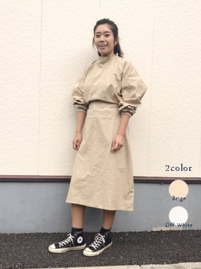 【DEAD STOCK】80's VINTAGE 2Way DOCTOR SMOCK DRESS Beige OffWhite