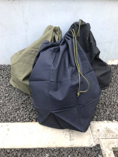 【DEAD STOCK】 80's VINTAGE France Army Military Cotton Bag Black , Navy , Olive Green , White , Beige