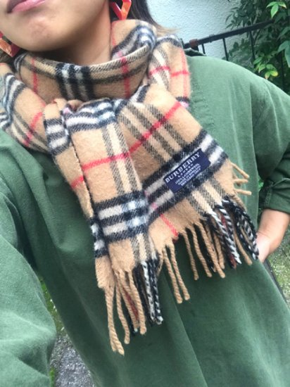 【USED】 BURBERRY LONDON Check Wool Muffler Beige Camel