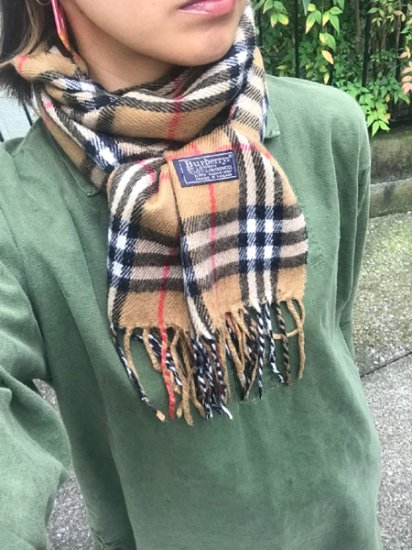 【USED】 Burberrys OF LONDON Check Wool Muffler Beige Camel Made in ENGLAND