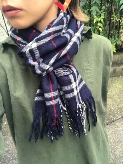 【USED】 Burberrys OF LONDON Check Wool Muffler Navy Made in ENGLAND