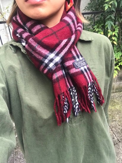 【USED】 Burberrys OF LONDON Check Wool Muffler Wine Red Made in ENGLAND