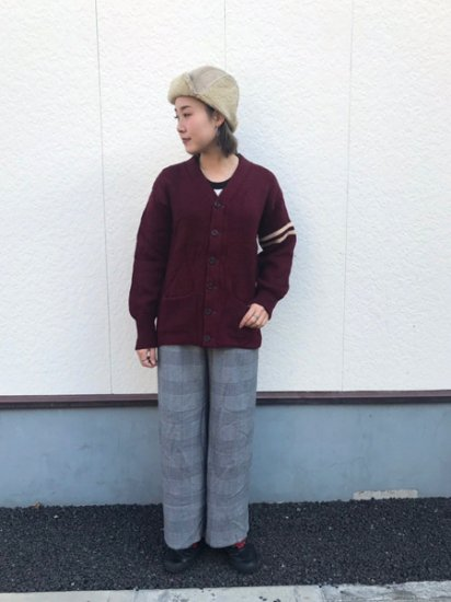 【USED】 60's Vintage Knit Lettered Cardigan Burgundy