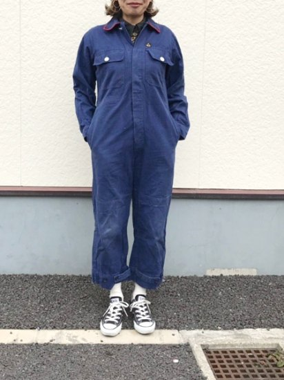 【USED】 KLM KLEDING SANFOR Euro Work Jumpsuits ALL IN ONE Navy
