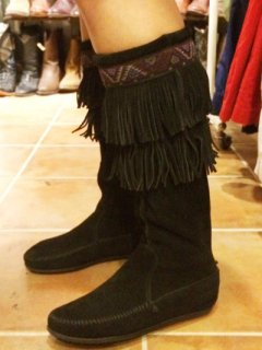 【USED】Minnetonka SUEDE FRINGE MOCCASIN LONG BOOTS