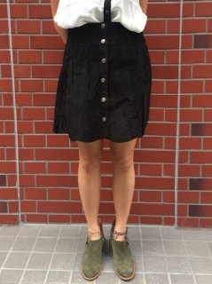 【USED】A LINE FRONT BUTTON SUEDE LEATHER SKIRT