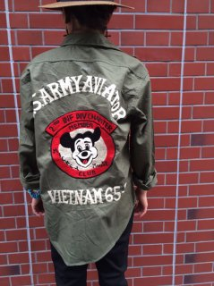 【USED】RE-MAKE MICKEY MOUSE MILITARY SHIRT