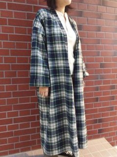 【USED】WOOL CHECK GOWN LONG COAT