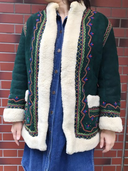 【USED】VINTAGE EMBROIDERED MOUTON COAT