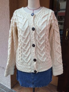 【USED】MERINO WOOL CABLED CARDIGAN