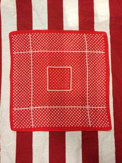 【USED】VINTAGE POLKA DOT BANDANA RED