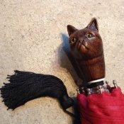 Guy de Jean (ギドゥジャン) 折りたたみ傘 猫 Red